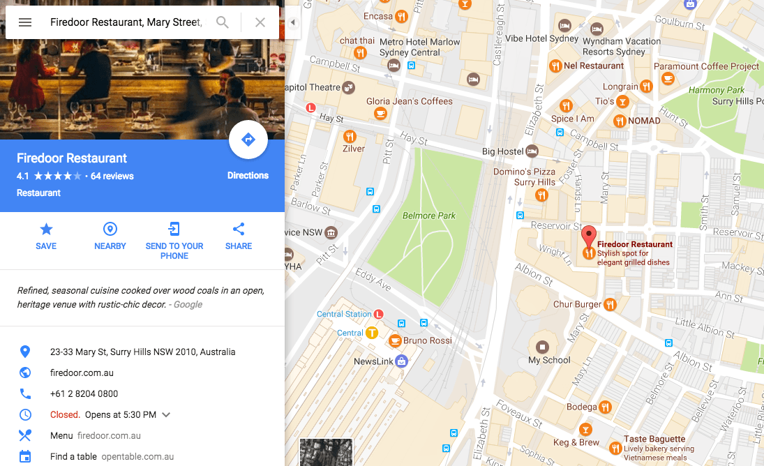 Firedoor Restaurant, Mary Street, Sydney, NSW, Australia