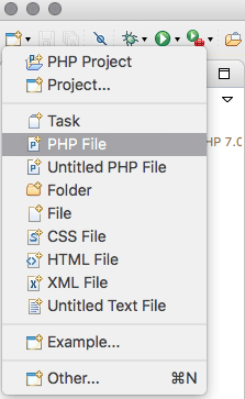 Creating a PHP file in eclipse texteditor