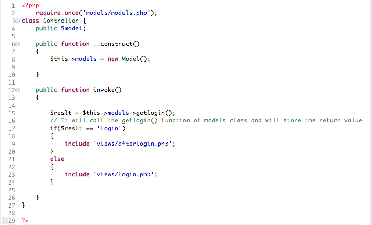 In controllers folder, create a new PHP file with the name controller.php and copy & paste the following code.