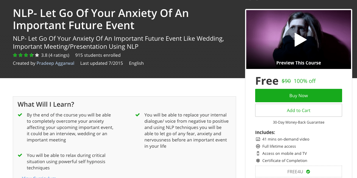 NLP- Let Go Of Your Anxiety Of An Important Future Event - Udemy 100 percent off copuon