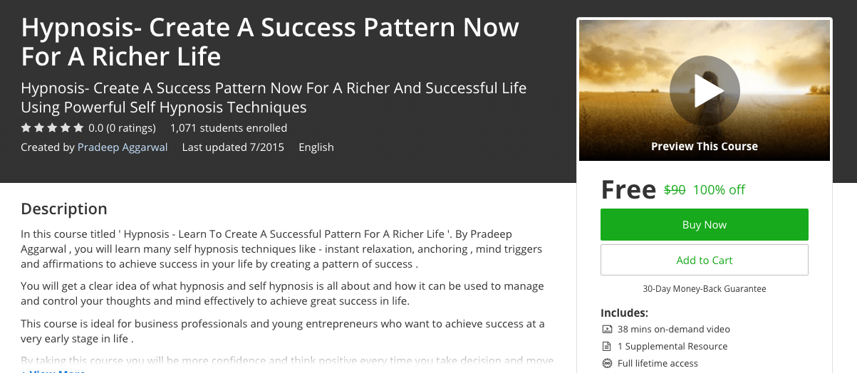 Hypnosis- Create A Success Pattern Now For A Richer Life 100% udemy coupons