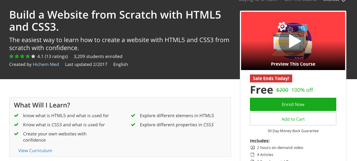 Build a Website from Scratch with HTML5 and CSS3 - free premium udemy courses 100%