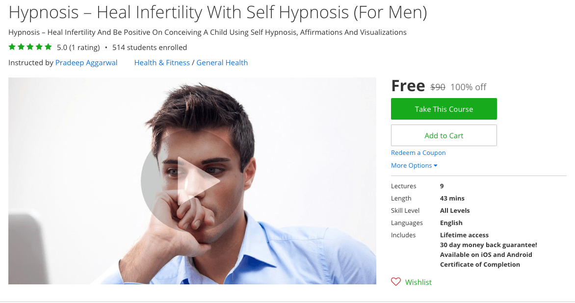 Hypnosis – Heal Infertility With Self Hypnosis (For Men) - 100% free udemy courses coupons