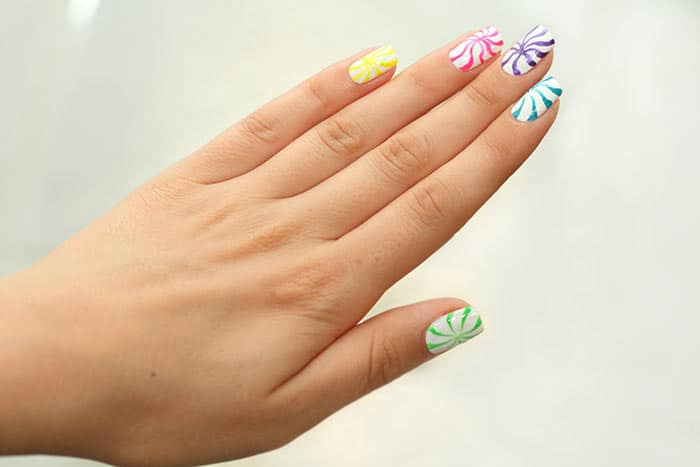 Spiral Candy Style Nail Art Design
