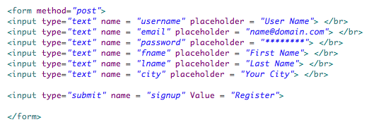 HTML registration form code