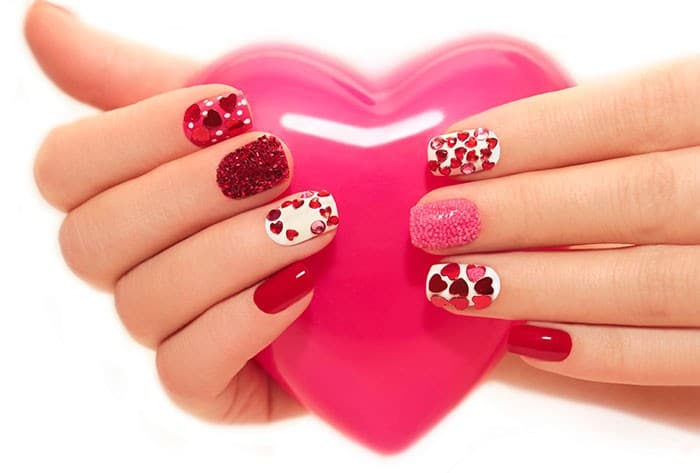 Valentines day Nail Art design with Nails Jewelery