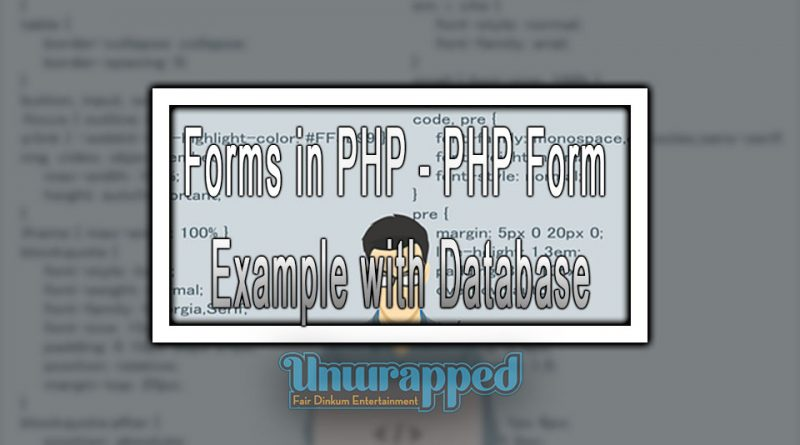 Forms in PHP -PHP Form Example with Database