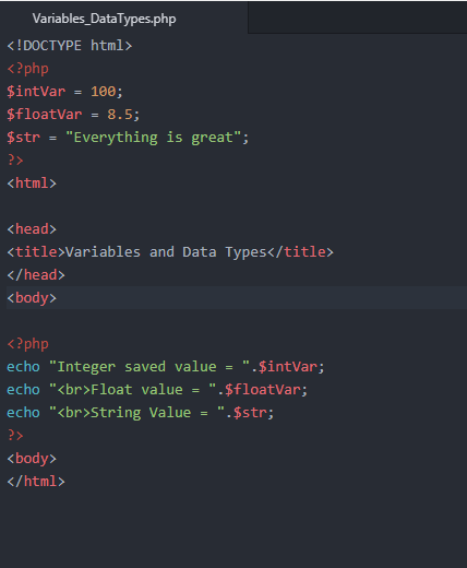 PHP working with Data types and Variables