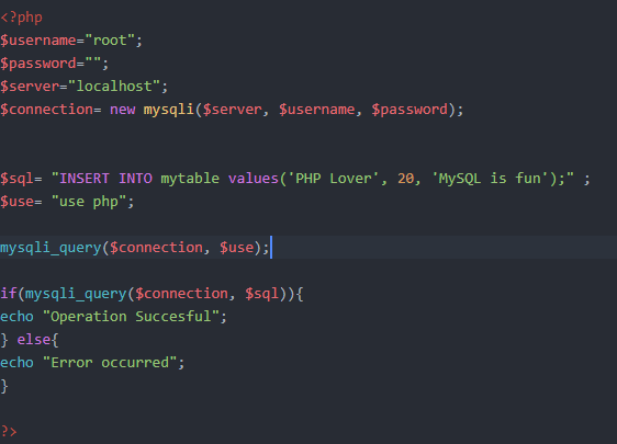 Connecting MySQL database PHP
