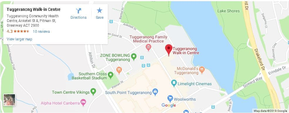 Nurse-Led Walk-In Centre Canberra Location Tuggeranong