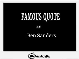 Ben Sanders's Top 1 Popular and Famous Quotes