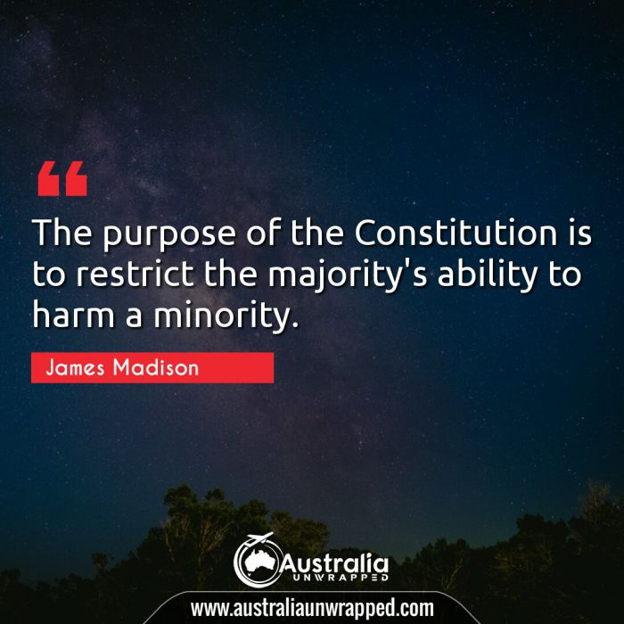 The purpose of the Constitution is to restrict the majority's ability to harm a minority.