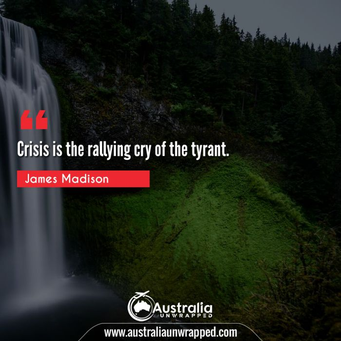 Crisis is the rallying cry of the tyrant.