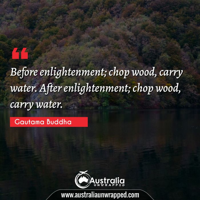Before enlightenment; chop wood, carry water. After enlightenment; chop wood, carry water.