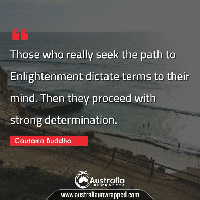 Those who really seek the path to Enlightenment dictate terms to their mind. Then they proceed with strong determination.