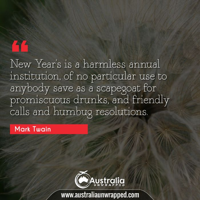 New Year's is a harmless annual institution, of no particular use to anybody save as a scapegoat for promiscuous drunks, and friendly calls and humbug resolutions.