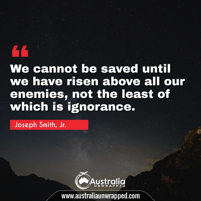 We cannot be saved until we have risen above all our enemies, not the least of which is ignorance.