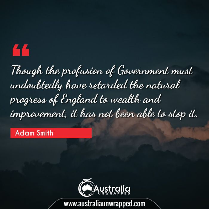 Though the profusion of Government must undoubtedly have retarded the natural progress of England to wealth and improvement, it has not been able to stop it.