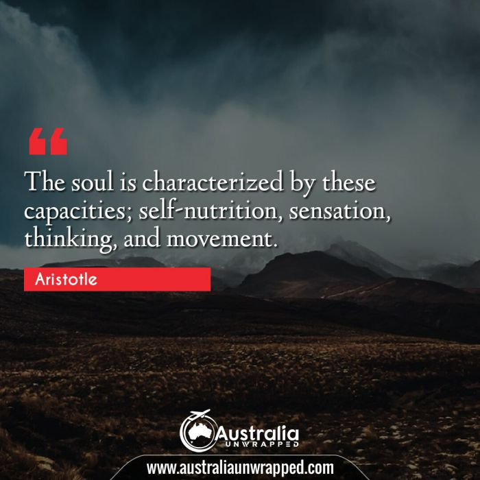 The soul is characterized by these capacities; self-nutrition, sensation, thinking, and movement.