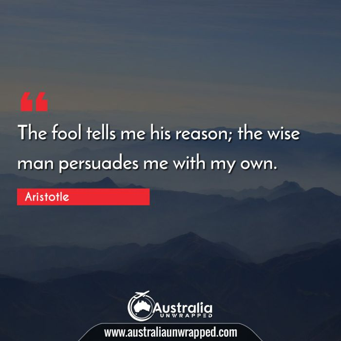 The fool tells me his reason; the wise man persuades me with my own.