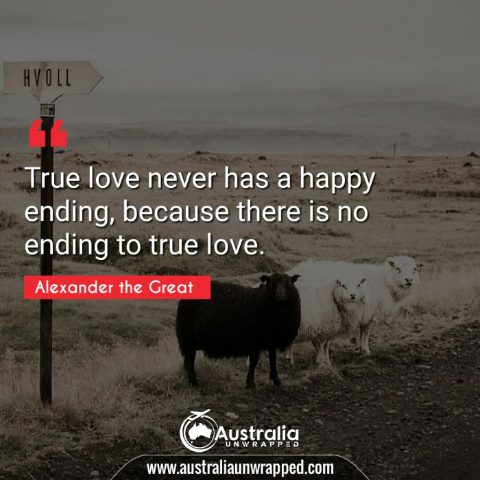 True love never has a happy ending, because there is no ending to true love.