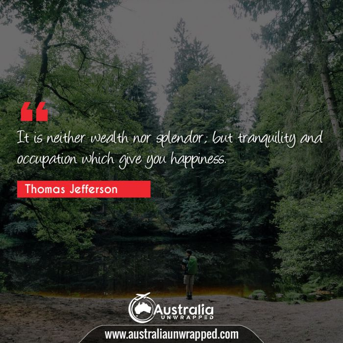 It is neither wealth nor splendor; but tranquility and occupation which give you happiness.