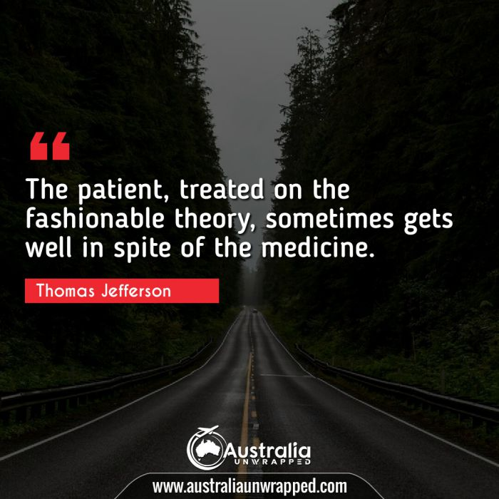 The patient, treated on the fashionable theory, sometimes gets well in spite of the medicine.