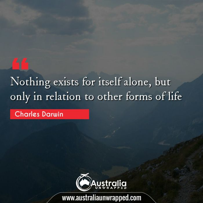 Nothing exists for itself alone, but only in relation to other forms of life.