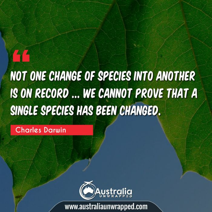 Not one change of species into another is on record … we cannot prove that a single species has been changed.