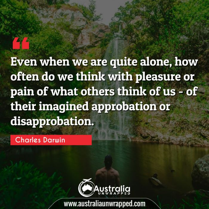 Even when we are quite alone, how often do we think with pleasure or pain of what others think of us - of their imagined approbation or disapprobation.
