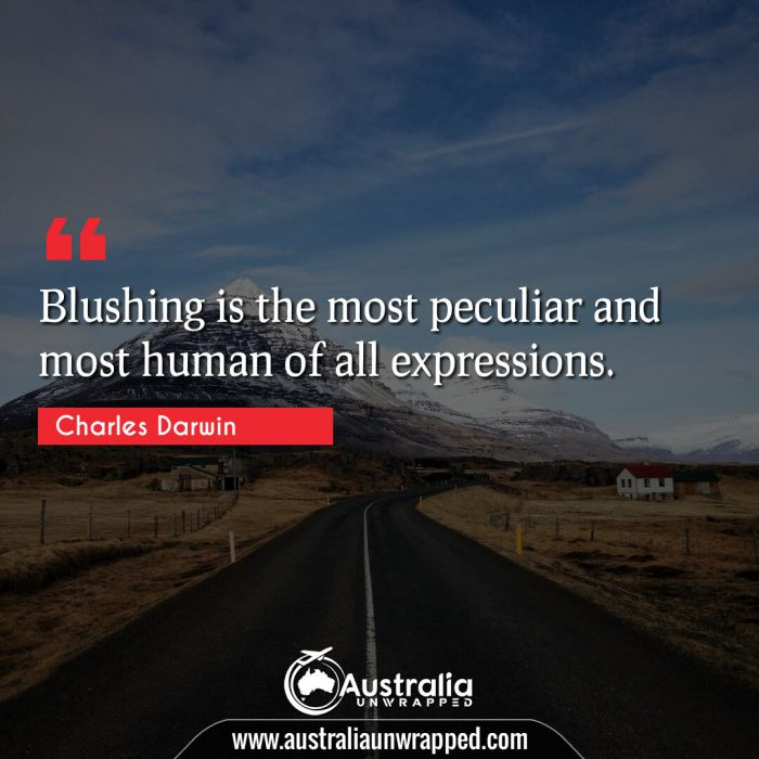 Blushing is the most peculiar and most human of all expressions.