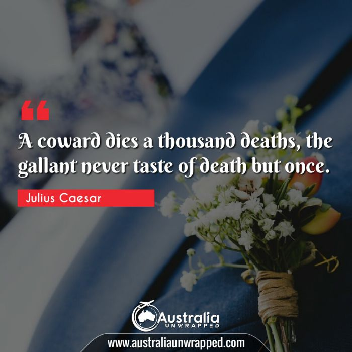 A coward dies a thousand deaths, the gallant never taste of death but once.