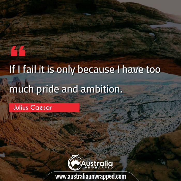 If I fail it is only because I have too much pride and ambition.