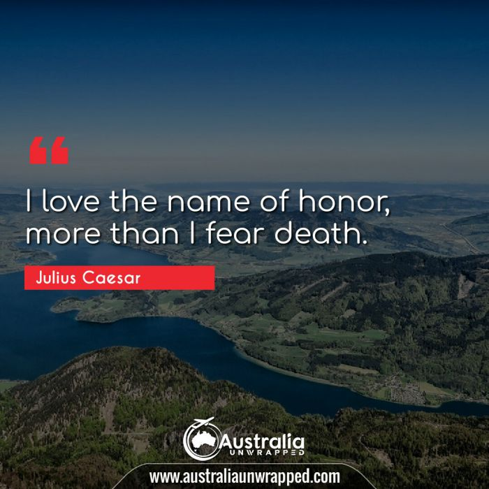 I love the name of honor, more than I fear death.