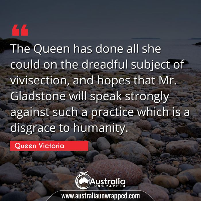 The Queen has done all she could on the dreadful subject of vivisection, and hopes that Mr. Gladstone will speak strongly against such a practice which is a disgrace to humanity.