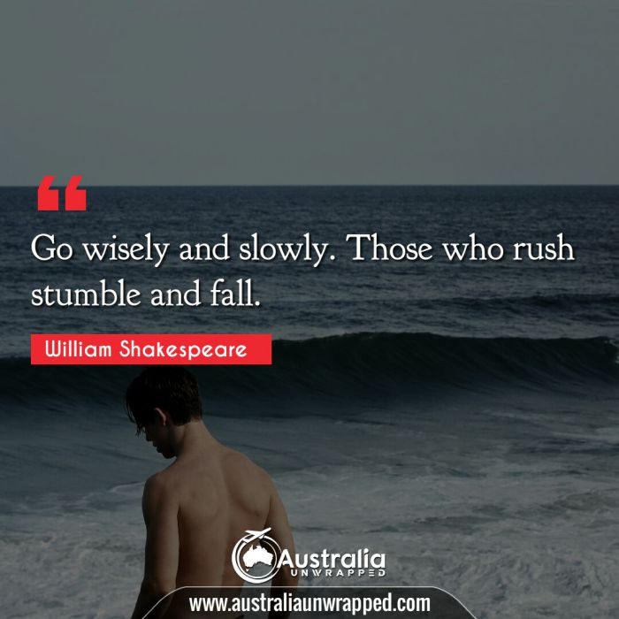Go wisely and slowly. Those who rush stumble and fall.