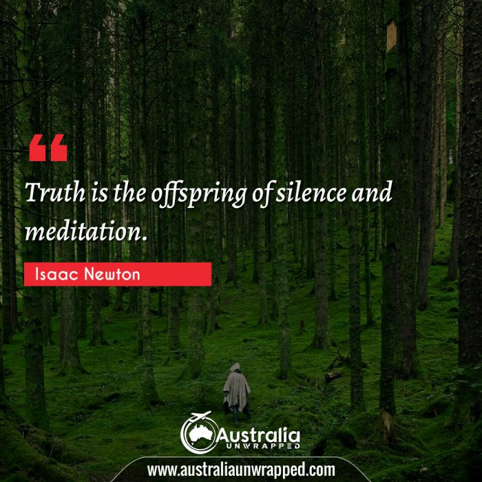 Truth is the offspring of silence and meditation.