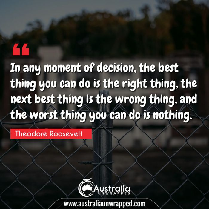 In any moment of decision, the best thing you can do is the right thing, the next best thing is the wrong thing, and the worst thing you can do is nothing.