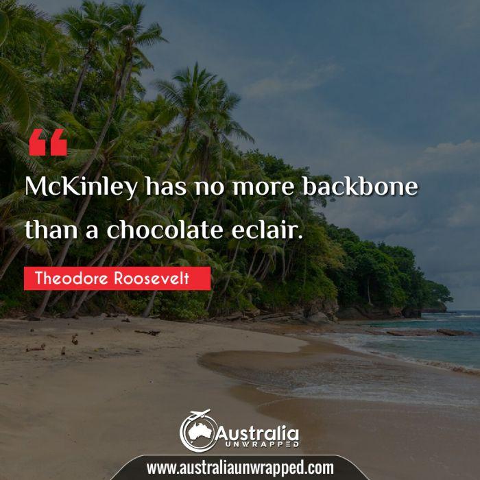 McKinley has no more backbone than a chocolate eclair.