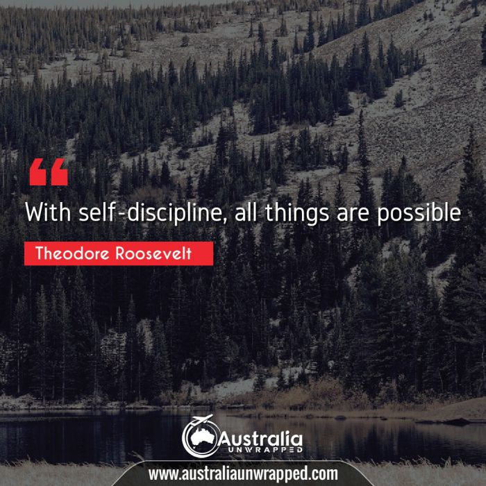 With self-discipline, all things are possible