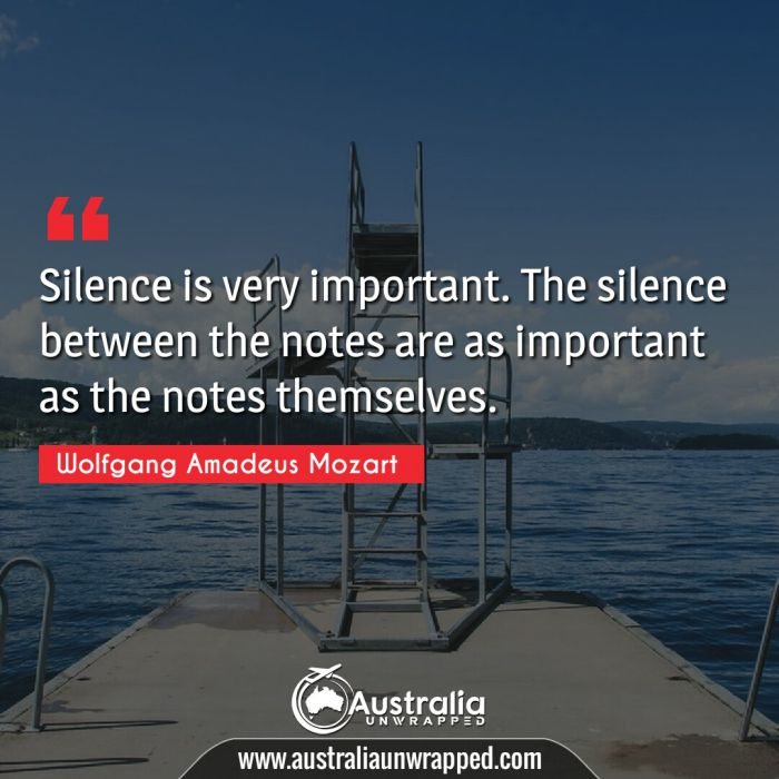 Silence is very important. The silence between the notes are as important as the notes themselves.