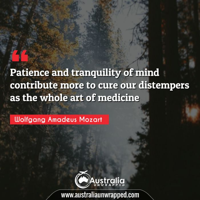 Patience and tranquility of mind contribute more to cure our distempers as the whole art of medicine