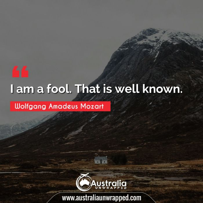 I am a fool. That is well known.