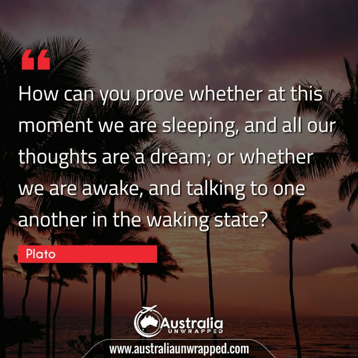 How can you prove whether at this moment we are sleeping, and all our thoughts are a dream; or whether we are awake, and talking to one another in the waking state?