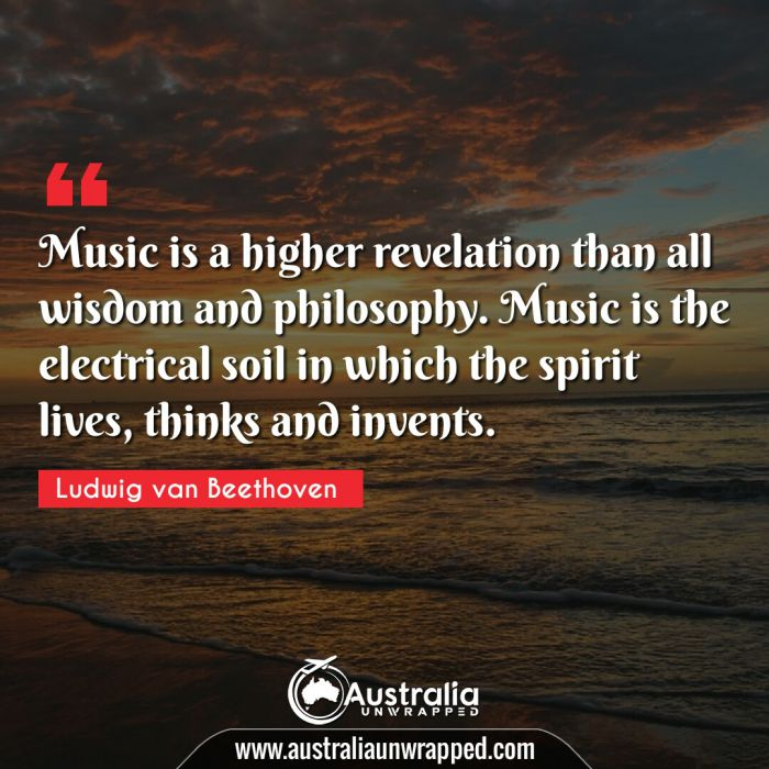 Music is a higher revelation than all wisdom and philosophy. Music is the electrical soil in which the spirit lives, thinks and invents.