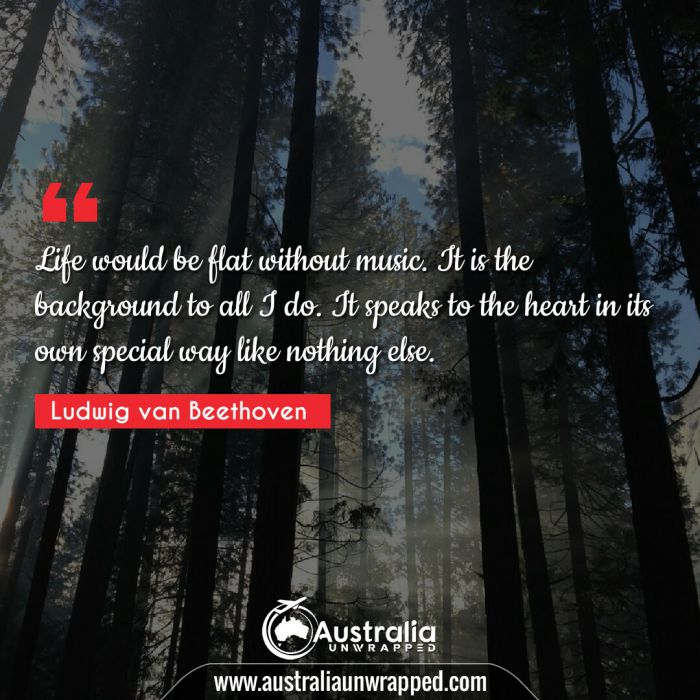 Life would be flat without music. It is the background to all I do. It speaks to the heart in its own special way like nothing else.
