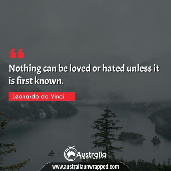 Nothing can be loved or hated unless it is first known.