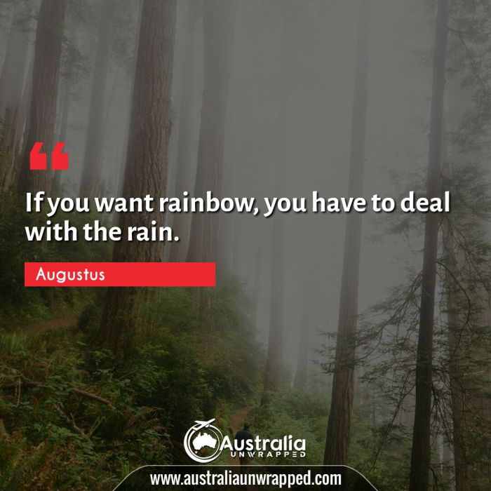 If you want rainbow, you have to deal with the rain.