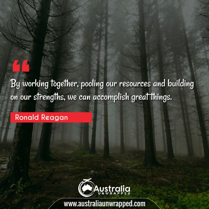 By working together, pooling our resources and building on our strengths, we can accomplish great things.