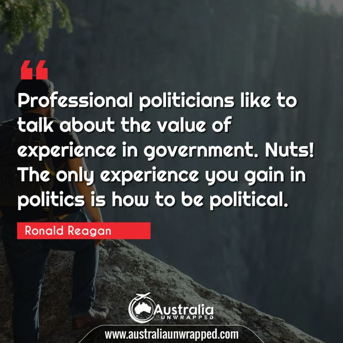 Professional politicians like to talk about the value of experience in government. Nuts! The only experience you gain in politics is how to be political.